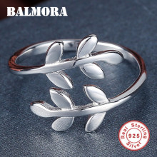 BALMORA 100% Real 925 Sterling Silver Leaf Open rings for Women Men Party Gift High Quality Cute Fashion Jewelry Anillos SY20663(China)
