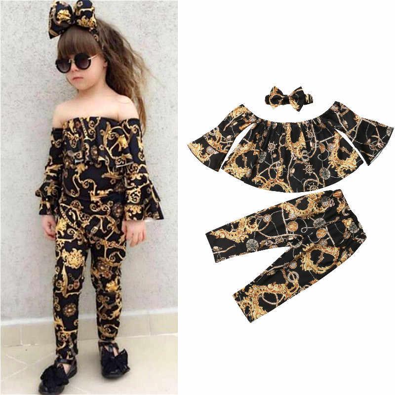 0d8e3a8995a25 2019 Fashion Kids Girl Clothes Off shoulder Flare Long Sleeve Tops Long Pant  Headband 3PCS Floral
