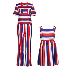 Mother Daughter Matching Clothes Set Family Summer Short Sleeve Fashion Striped Outfits Mommy Me Tops Pant Clothing Suit