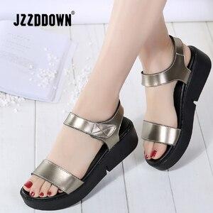 Image 2 - נשים דירות פלטפורמת סנדלי נעלי עור אמיתי גבירותיי רסיס סניקרס נעל 2018 קיץ אופנה פלטפורמה גבוהה העקב הנעלה