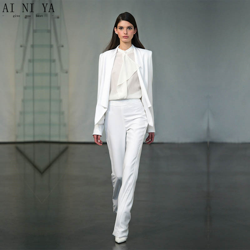 Jacket+Pants Womens Business Suit White Female Office Uniform Blazer Ladies Formal Trous ...