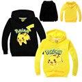 Crianças Casuais Moletom Com Capuz Pikachu Pokemon Ir Com Capuz Camisolas de Manga Longa Desgaste Do Outono Dos Desenhos Animados Bordado Jumper Tops Para 2-7A