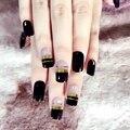 Flat Pre-designed False Nails Black Finished UV French Nails Decoration Acrylic Full Nail Tips Kit 24pcs in 10 sizes Z256