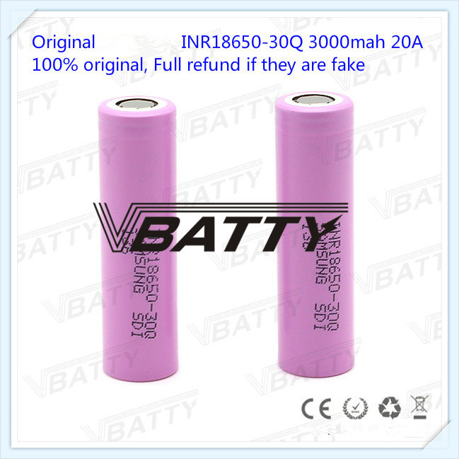 100% Original for <font><b>Samsung</b></font> INR18650-<font><b>30Q</b></font> 3000mah 20A 3.7V 18650 3000mAh INR18650-<font><b>30Q</b></font> high drain 20A battery with flat top(1 pc) image