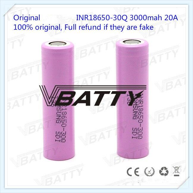 100% Original pour Samsung INR18650-30Q 3000 mah 20A 3.7 V 18650 3000 mAh INR18650-30Q haute vidange 20A batterie avec plateau plat (1 pc)