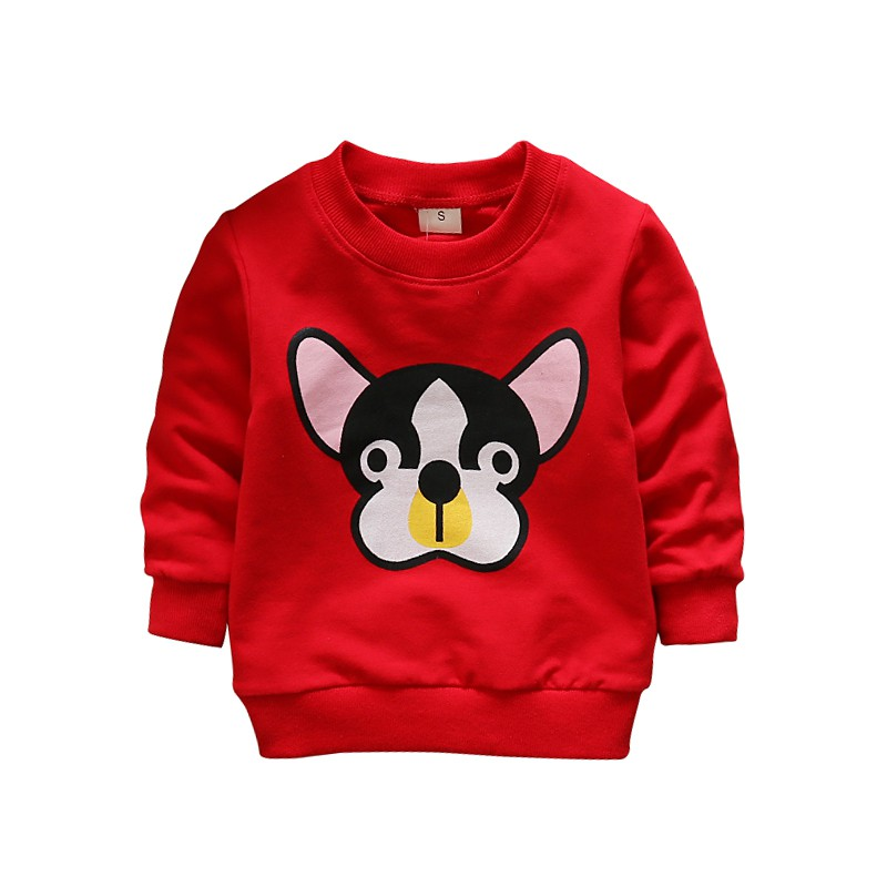 2018 New Childrens Dog Long-Sleeved Spring T-Shirt Cartoon Animal Pattern Cute Boy Girl Cotton T-Shirt Sports Baby Clothes