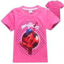 2017 Verano Ropa Infantil para Niñas Milagrosa Ladybug Costume Cosplay Camisetas Niño Camiseta Casual Tops Chicas Superman Camisetas(China (Mainland))