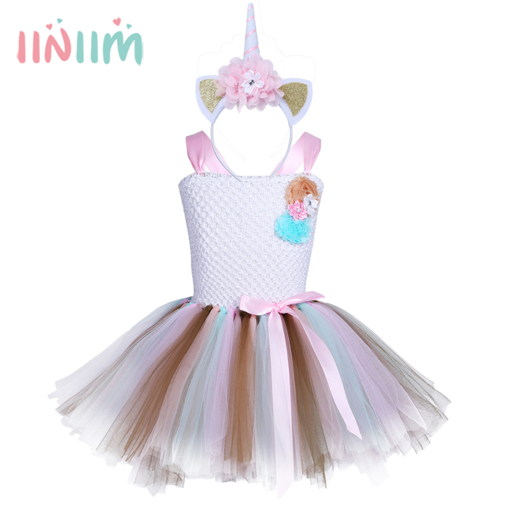 Kids Girls Unicorn Outfit Novelty Sleeveless Colorful Tutu Dress with Hair Hoop Halloween Cosplay Role Play Party Costume Set cosplay party cat fox long fur ears neko costume hair clip halloween orecchiette y103