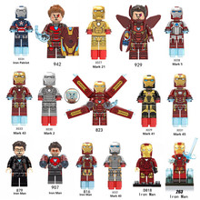 Iron Man Series Single Sale Legoingly Marveled Avengers Super Hero Figures Building Blocks Bricks Set Model Toys For Children(China)