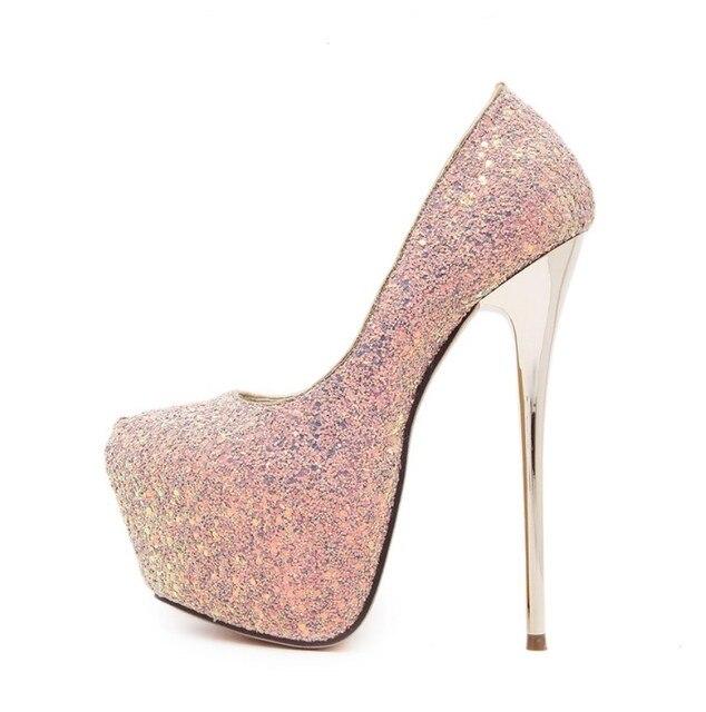 2017 women sexy fetish  nightclub platform glitter sequined bling court shoes very ultra high heel wedding shoes pump stilettos