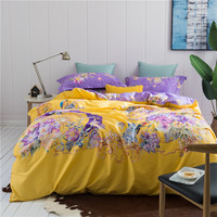Luxury Egyptian cotton Bedding Set flowers Bed Linens Satin Bed Sheet Set white Bedclothes Queen/King Size Bed cover