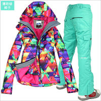 2016 hot womens waterproof ski suit ladies snowboarding suit skiwear colorful geometric figure jacket and mint green pants XS L
