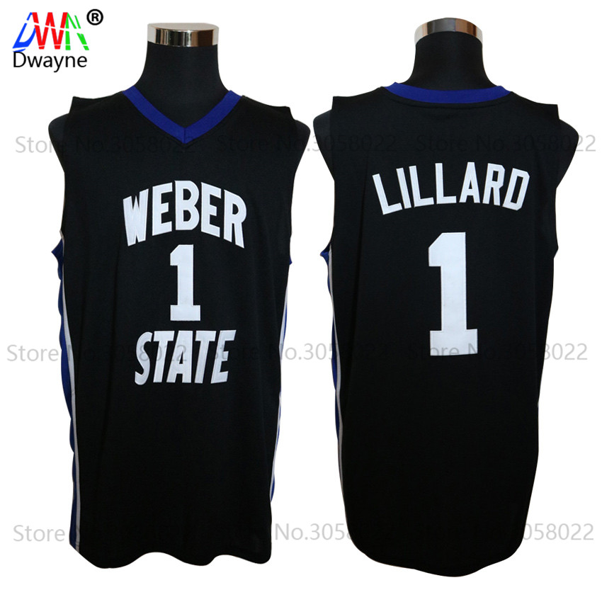 цена на 2017 Mens Dwayne Damian Lillard Jersey Cheap Throwback Basketball Jersey #1 Weber State College Basket Jerseys Retro Sport Shirt