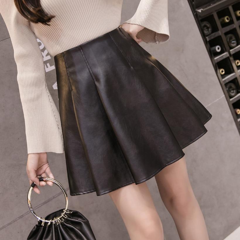Women Skirt 2019 New Autumn New Pu Leather Skirt A-line Pettiskirt High Waist Skirt Large Size Solid Color Pleated Skirt