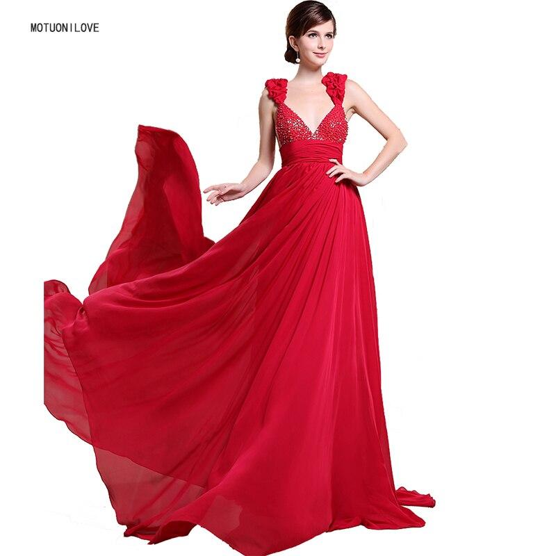2019 longues robes De soirée en mousseline De soie dos nu rouge col en V Sexy Vestido De Festa robes De soirée élégantes perles grande taille robes formelles