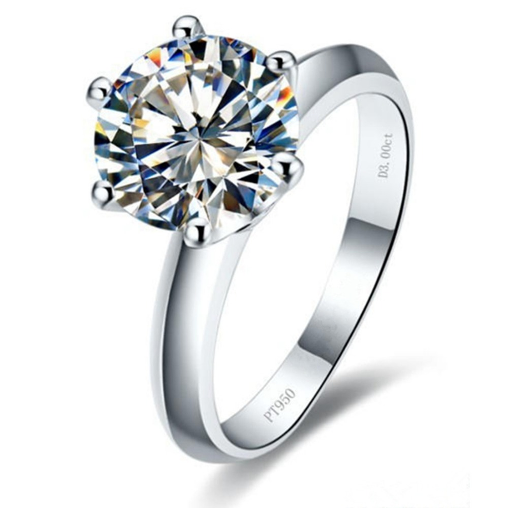 Top Brand Jewelry Wholesale 3CT Wedding Hearts and Arrows Simulate Engagement Diamond Ring Sterling Silver Jewelry