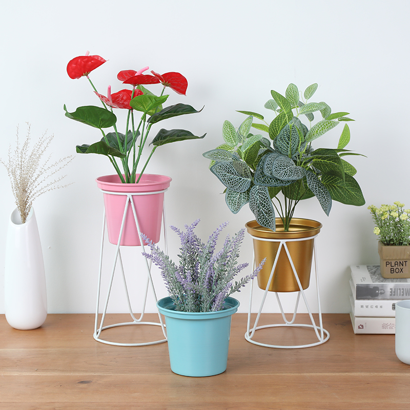 Nordic wrought iron flower shelf desktop floor standing home indoor living room plant frame green radish balcony flower pot hold Plant Shelves     - title=