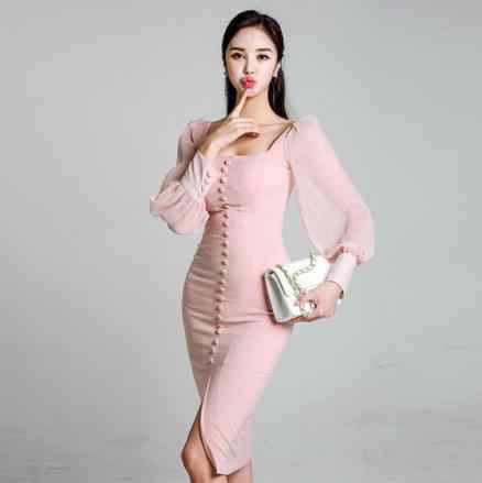 Новое элегантное вечернее платье с длинным рукавом и квадратным воротником, розовое кружевное тонкое платье, облегающее торжественное платье, Осеннее корейское стильное LJ495