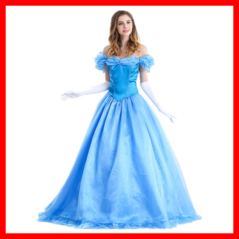 VASHEJIANG Deluxe <font><b>Adult</b></font> Cinderella Costume <font><b>Women</b></font> Fancy Dress Ball Gown <font><b>Halloween</b></font> Princess Costume Role Play Carnival <font><b>Sexy</b></font> Party image