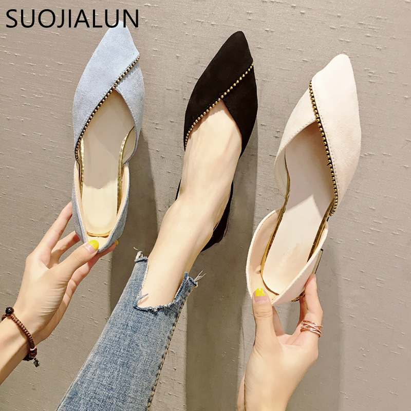 SUOJIALUN 2018 New Fashion Woman Flats Shoes Female Ballet Shoes Slip On Loafers Pointed Toe Casual Espadrilles Zapatos Mujer women pointed toe flats 2016 casual shoes female graffiti ballet flats mujer zapatos footwear for woman