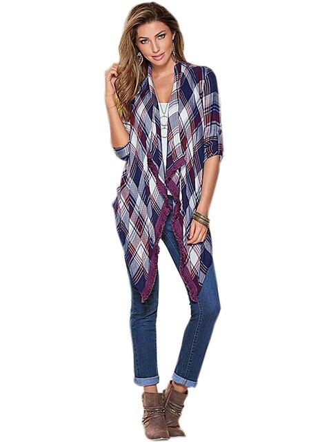 Loose Blouse Tassel Plaid Purple Blouse Womans Casual Summer Blouse Fringe Kimono Fashion  Women Tops 2016 Spring Summer Women