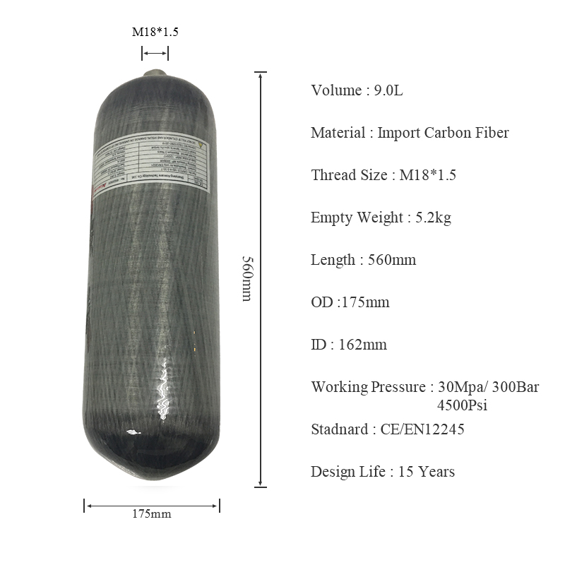 AC1090 Diving Balloon Scba Compressed Air Rifles Paintball Tank 300bar 9L CE Carbon Air Tank For Pcp Accessories ACECARE
