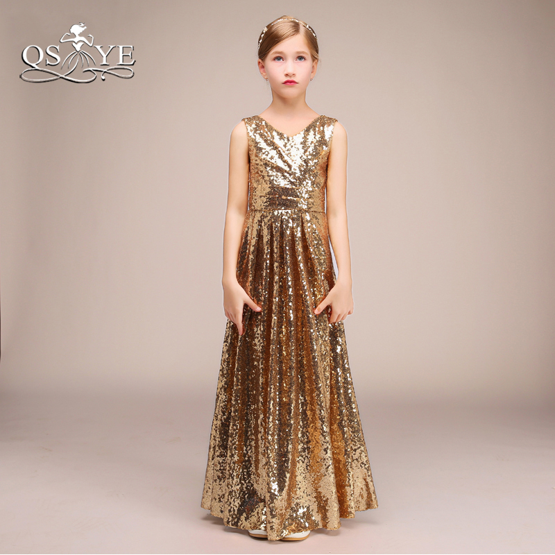 QSYYE 2018 Sparking Gold   Flower     Girl     Dresses   V Neck Pleats Floor Length Sequins   Girls   Prom Party Gown Custom Made