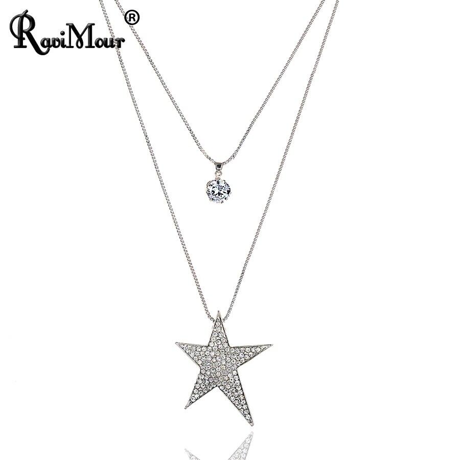 RAVIMOUR Long Women Necklaces & Pendants Fashion Big Star Design ...