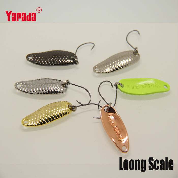 YAPADA Spoon 007 Loong Scale 3.5g 32mm 6pcs/lot Multicolor Metal Spoon Fishing Lures