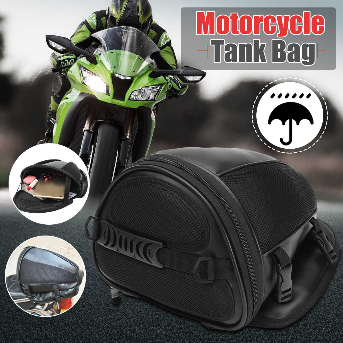 54f721ddf Universal Motorcycle Waterproof Luggage Tail Box Tank Saddle Bag Bike Sports  Gear Case Carrying Convenience Removable