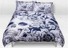 Designers Design 3 Skulls King Queen Size 4PCS Luxurious Digital Printing Cotton Bedding Set Duvet Cover Bed Sheet Pillowcases