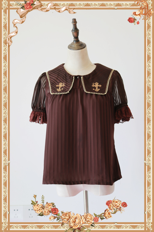 2018 New Summer Short Sheer Sleeve Chiffon Blouse Cross Embroidered Lolita Blouse by Infanta