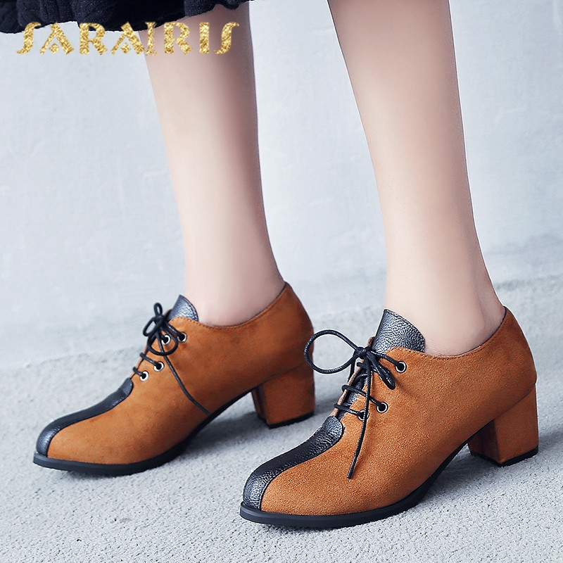 Sarairis New Arrivals Plus Size 28-52 Dropship Square Heels Lace Up Shoes Woman Pumps Black Brown Pumps Women Shoes