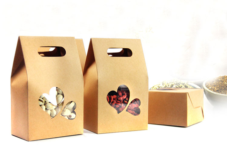 10pcs kraft paper bags boxes Paper brown stand up window for wedding Gift Jewelry Food Candy Storage Packing Bags in Gift Bags Wrapping Supplies from Home Garden