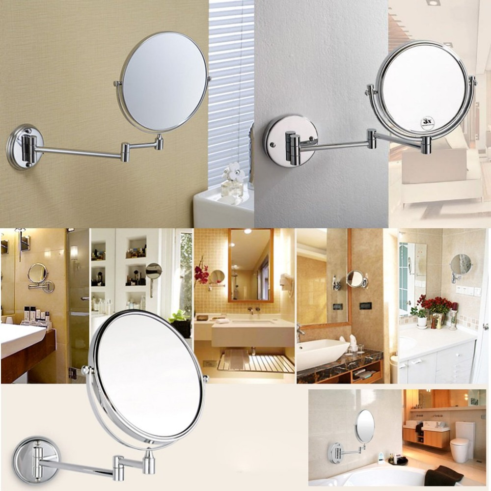 Wall mounted makeup mirror square 3x in wall mirrors - Wholesale New Chrome Round 8 Wall Mirror Vanity Mirror Cosmetic Mirror Double Sided 3x