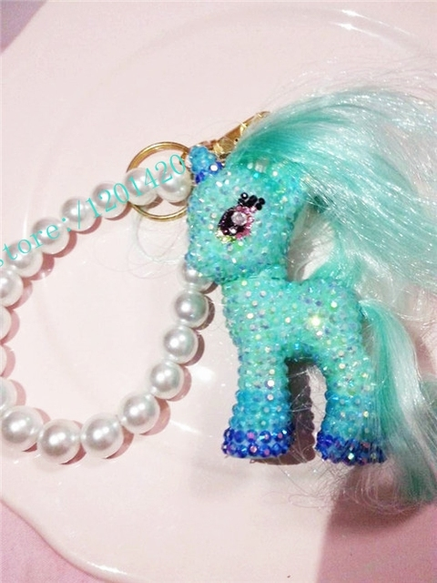 Kawaii Bag Charm unicorn little horse doll handbag charm teal blue crystal sparkly purse charm pearl chains girls tote bag charm