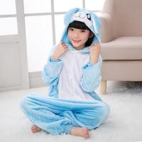 2018 Winter Pajamas For Boys Girls Kigurumi Pink Blue Cartoon Rabbit Kids Jumpsuit 4 6 8 10 12 Years Children Onesie Sleepwear