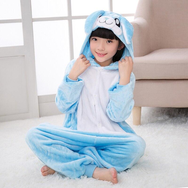 2018 г., зимние пижамы для мальчиков и девочек, кигуруми, розовый, синий, мультяшный кролик, детский комбинезон, 4, 6, 8, 10, 12 лет, Пижама детская одежда для сна