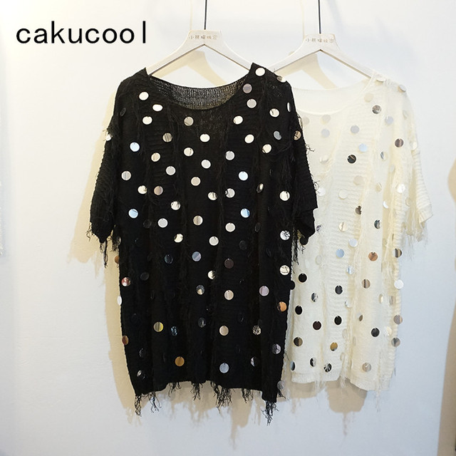 Cakucool Women Summer Half Sleeve T-shirt Sequins Patch Tassels Casual Top  Tees Loose Shiny Mid Long Pullover T-Shirts Tee Femme a8af49bc630e