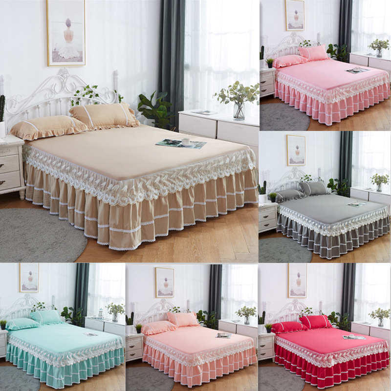3PCS Thickened Lace Bed Skirt Graceful Bedspread Fitted Sheet <font><b>Home</b></font> <font><b>textile</b></font> Bedroom Mattress <font><b>Cover</b></font> Skirt+Pillowcase Wedding Gift image
