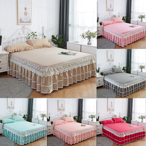 3PCS Thickened Lace Bed Skirt
