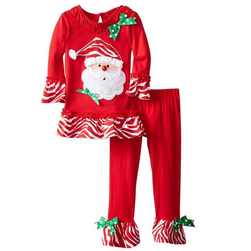 ФОТО Red Girls Christmas Birthday Costumes Clothes Cotton Christmas Kids Pants Santa Claus  Nightwear Clothes  2 Piece Set