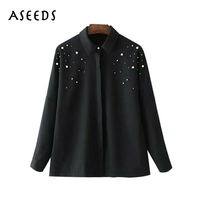Autumn Black Long Sleeve Blouse Women Beading Pearls Shirts Fashion Turn Down Collar Button Vintage Blouse