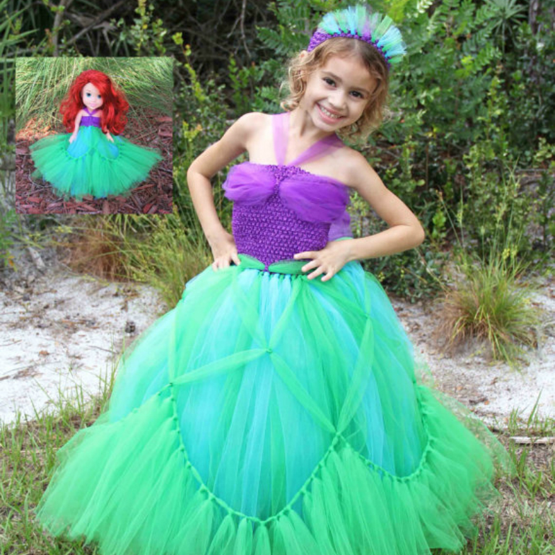 Princess Ariel Inspired Matching Girl Tutu Dresses Purple and Green Mermaid Cosplay Baby Girl Clothes for Halloween Party 2017 mermaid ariel baby girls clothes the little kids girls dresses princess cosplay halloween costume
