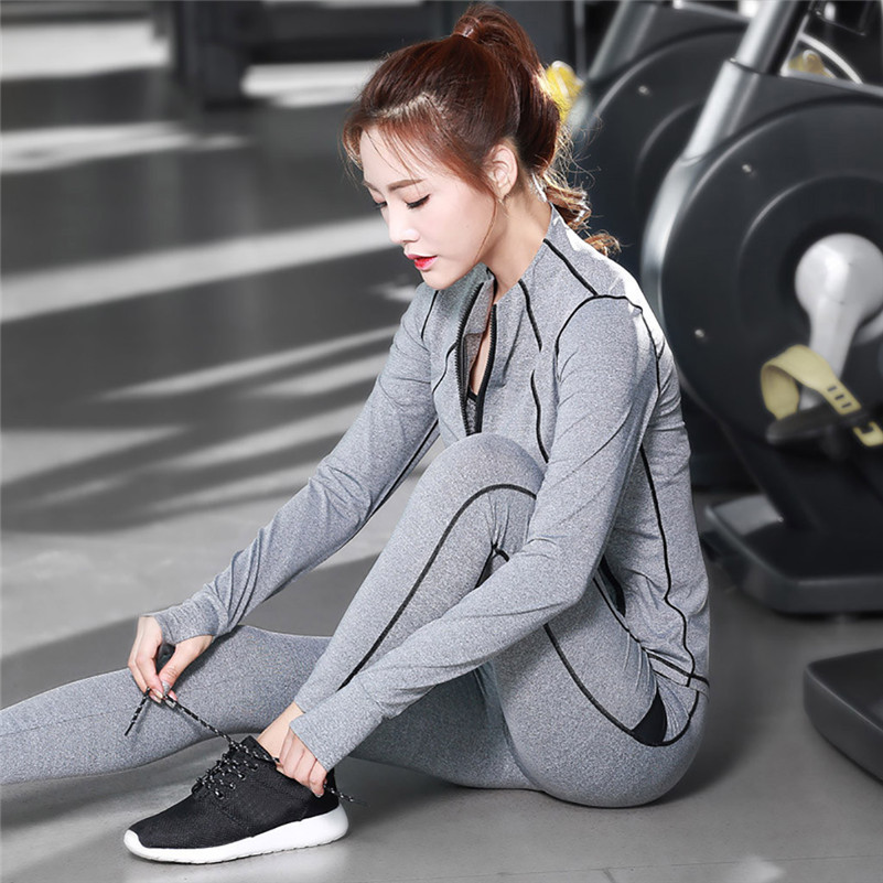 2019 Women Gym Yoga lady Fitness Clothes Tennis Running Tight Jogging Outfit Sport Suit Set Pants