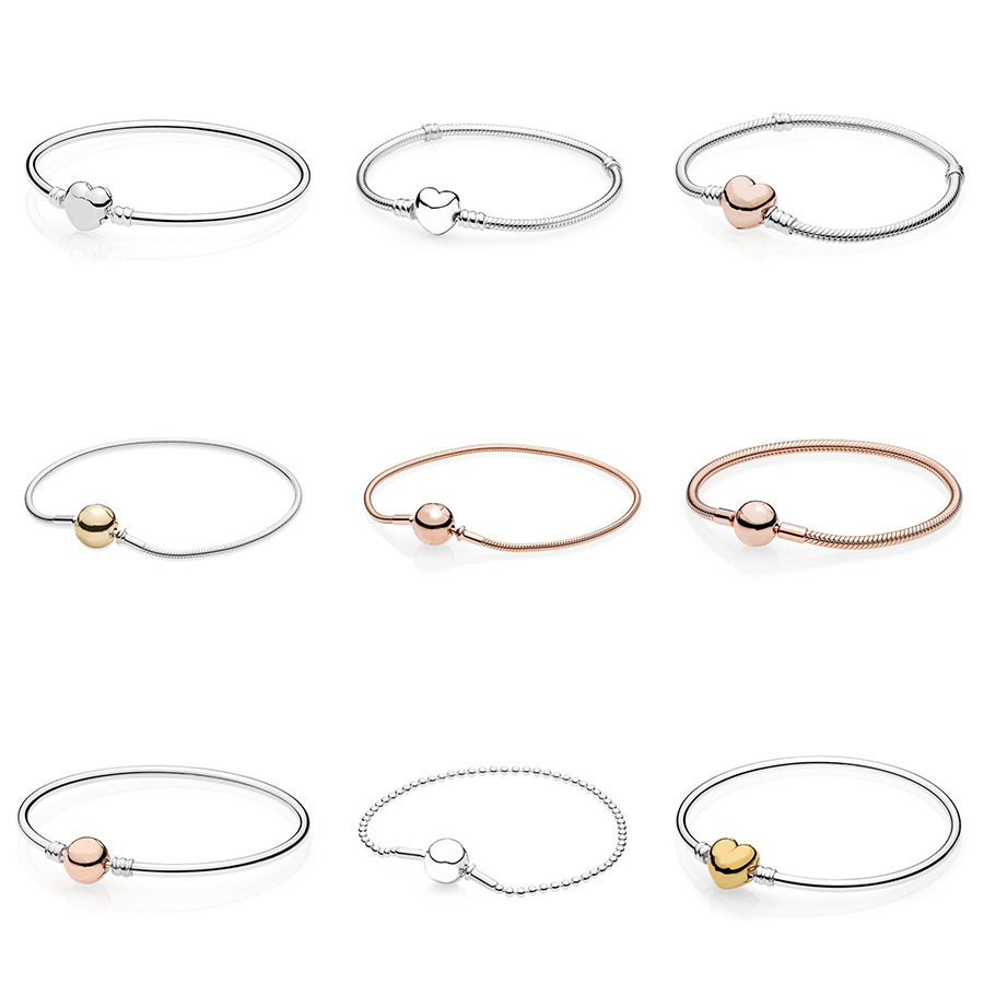 9 Style 925 Sterling Silver Sanke Chain Bracelets Love Heart Rose Gold Gold Color For Women Diy Charms Jewelry 4 style 925 basic snake chain bracelets round flower love heart pink color buckle bracelets for women diy charms jewelry