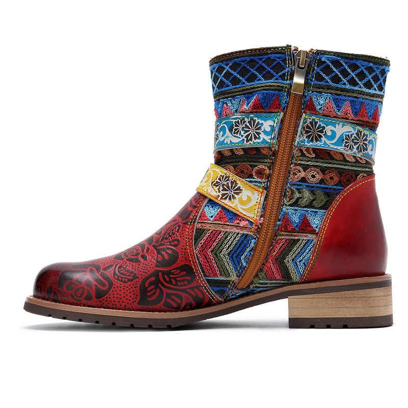 Vintage Bohemian Batı Kovboy botas de cuero genuino botas de tobillo para mujer Zapatos Mujer Zapatos Otoño Invierno