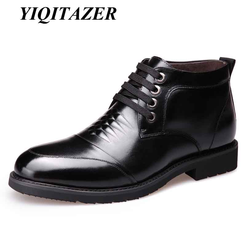 YIQITAZER 2018 Snow Boots Man Shoes Leather Nature Wool Insoles,Winter Warm Work Ankle Boots Mens Genuine Leather Shoes Men