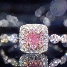 Genuino de Las Mujeres de Moda 925 anillos de plata Esterlina 1Cz AAAAA Rosa Cz Diamonique wedding band anillo de Compromiso para las mujeres Regalo