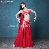 NEW Senior Professional Rhinestones bra+silk Long Skirt 2pcs Girls Belly Dance Suit For Women Belly Dance Performance Clothing
